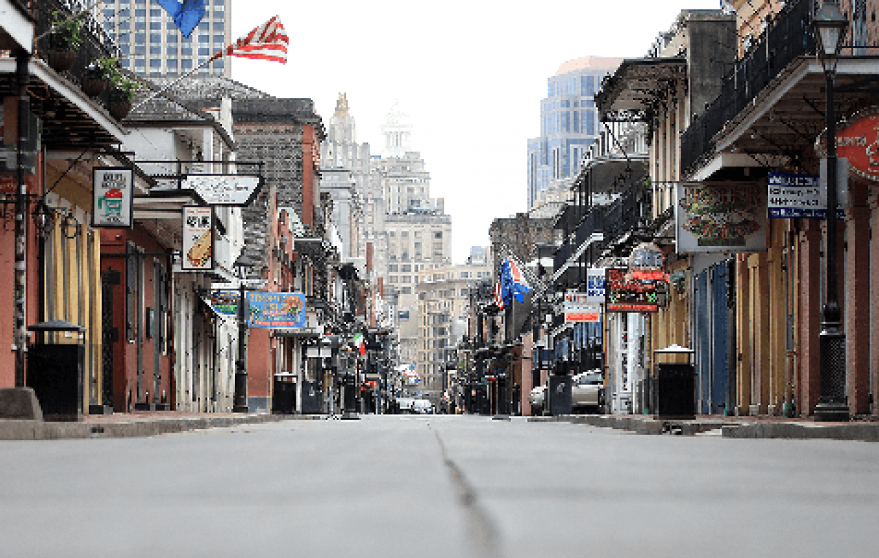 The normally bustling French Quarter in New Orleans is abandoned due to the COVID-19 pandemic.